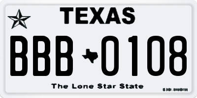 TX license plate BBB0108