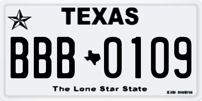 TX license plate BBB0109
