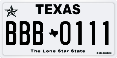 TX license plate BBB0111