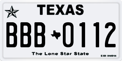 TX license plate BBB0112