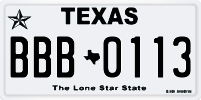 TX license plate BBB0113