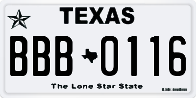 TX license plate BBB0116