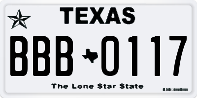 TX license plate BBB0117