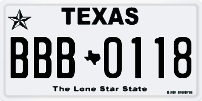 TX license plate BBB0118