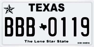 TX license plate BBB0119