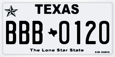 TX license plate BBB0120