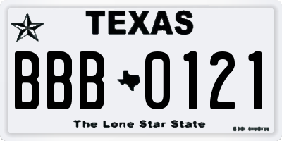 TX license plate BBB0121