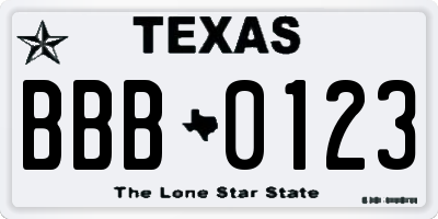 TX license plate BBB0123