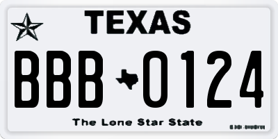 TX license plate BBB0124