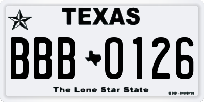 TX license plate BBB0126