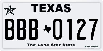 TX license plate BBB0127