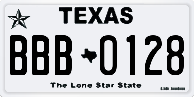 TX license plate BBB0128