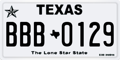 TX license plate BBB0129