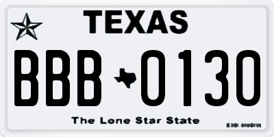 TX license plate BBB0130