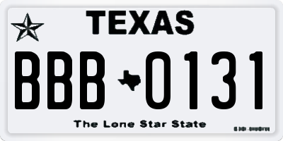 TX license plate BBB0131