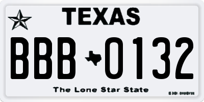 TX license plate BBB0132