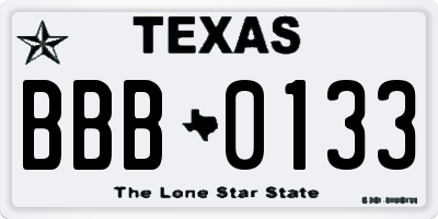 TX license plate BBB0133