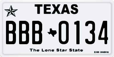 TX license plate BBB0134