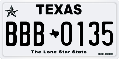 TX license plate BBB0135