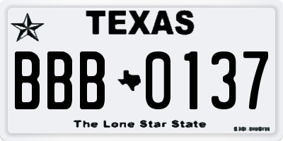 TX license plate BBB0137