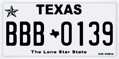 TX license plate BBB0139