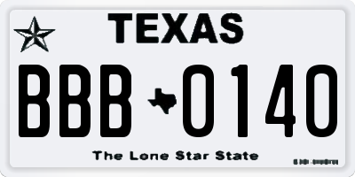 TX license plate BBB0140