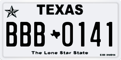 TX license plate BBB0141