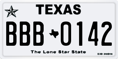 TX license plate BBB0142