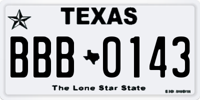 TX license plate BBB0143