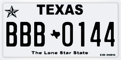 TX license plate BBB0144