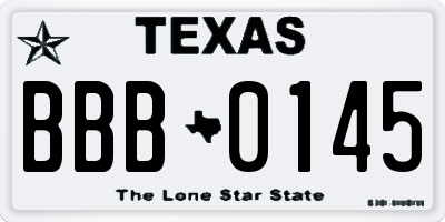 TX license plate BBB0145