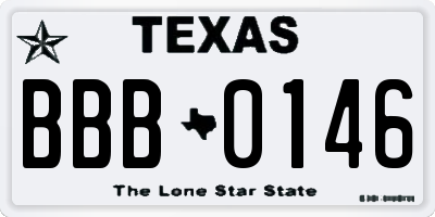 TX license plate BBB0146