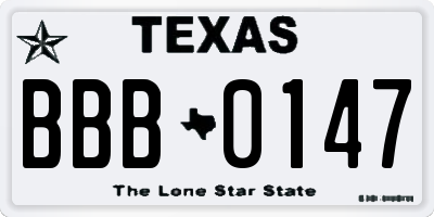 TX license plate BBB0147