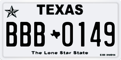 TX license plate BBB0149