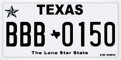 TX license plate BBB0150