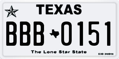TX license plate BBB0151