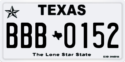 TX license plate BBB0152
