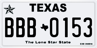 TX license plate BBB0153