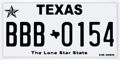 TX license plate BBB0154
