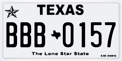 TX license plate BBB0157