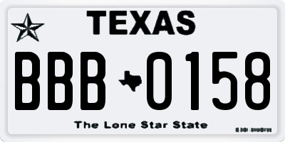 TX license plate BBB0158