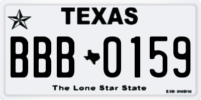 TX license plate BBB0159