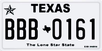 TX license plate BBB0161