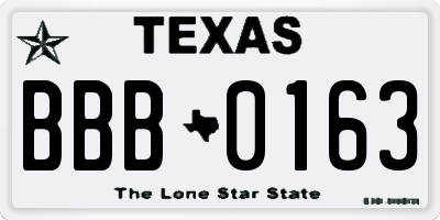 TX license plate BBB0163