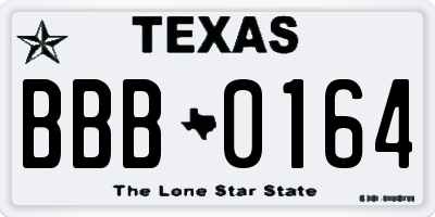 TX license plate BBB0164