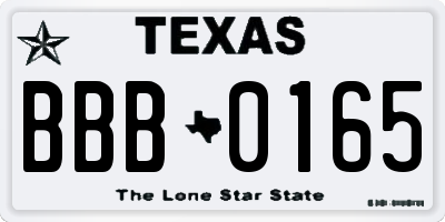 TX license plate BBB0165