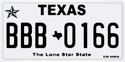 TX license plate BBB0166