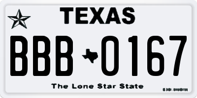 TX license plate BBB0167