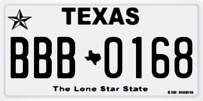 TX license plate BBB0168