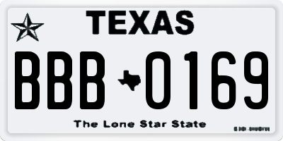 TX license plate BBB0169